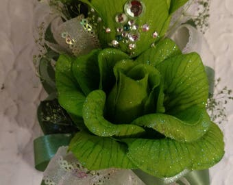 Green Corsage or Wristlet with Baby Breath and Rhinestones