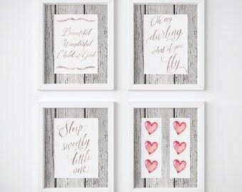 What If You Fly, Baby Girl Wall Art, Sleep Sweetly Little One, Girl Nursery Wall Art, Child Of God, Rose Gold,Nursery Decor, Set of 4, Heart