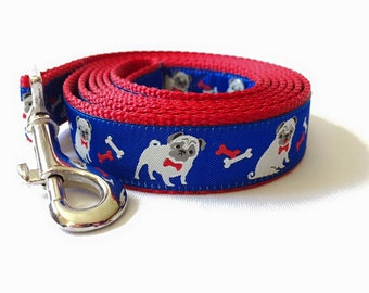 "Pug Dog Leash 1"" width"
