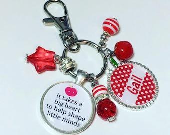 Teacher personalised keyring, Teacher gift, teacher personalized keychain, teacher apple gift, preschool teacher gift, nursery teacher gift