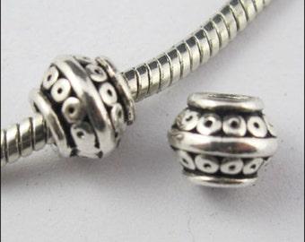 28/260pcs Tibetan Silver Macroporous Spacer Beads 7x9mm Hole:4mm