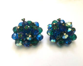 Green and blue crystal vintage earrings, Crystal AB clip on vintage earrings, Laguna signed green and blue Aurora Borealis crystal earrings
