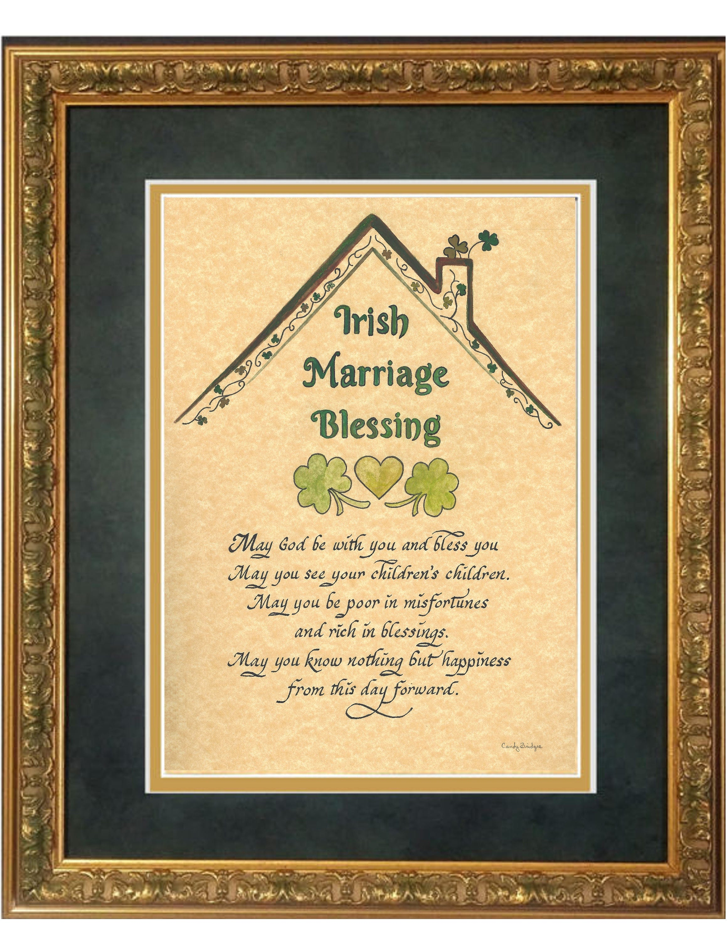 Wedding Gifts For Groom Ireland : Irish Marriage Wedding Blessing for Bride and Groom with shamrocks and ...