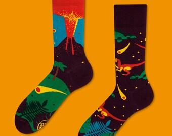Il dinosauro calzini | calze uomo | calzini variopinti | fresco di calzini | non corrispondenti | Womens calze | unici calzini | Tappeto a motivi calzini | animale calzini |