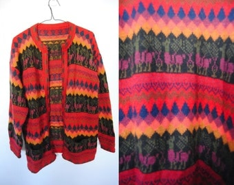 Vintage Knit Cardigan With Llama Print, Peruvian Textile, Bolivian Textile, long cardigan sweater - tunic - crew neck - South American