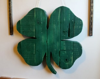 Rustic 4-Leaf Clover Pallet Art for St. Patrick's Day Reclaimed/Upcycled