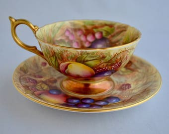 Aynsley Fruit Cup and Saucer signed N. Brunt