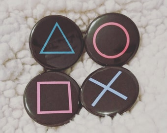 """4 PlayStation Buttons 1.25"""" Pinback Button Set of 4"""