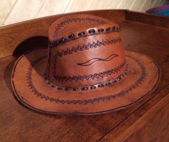 Vintage leather cowboy hat, cowboy hat, leather cowboy hat, leather hat, stamped leather hat, vintage hat, men's hat