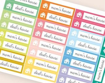 26 kid custody stickers, bar sticker, box stickers, planner stickers, child mom dad house erin condre happy planner stickers
