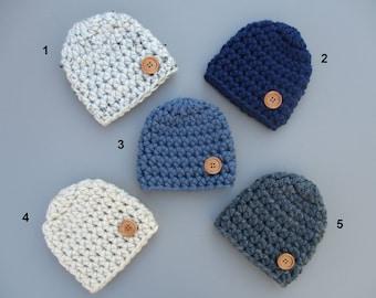 Baby Boy Hat, Crochet Baby Hat, Baby Boy Beanie, Chunky Baby Hat Baby Button Hat Newborn Boy Hat Baby Beanie Crochet Baby Hat Boy Baby Hat
