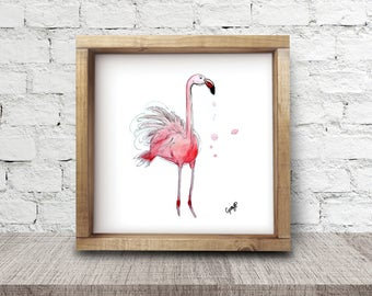 flamingo print, Illustration reproduction by Cynthia Paquette