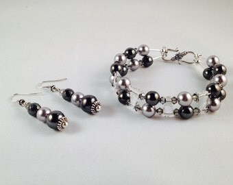 Bracelet and Earrings Set with Swarovski Crystals and Natural Pearls