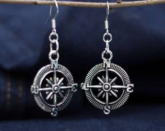 Vintage compass Silver earrings