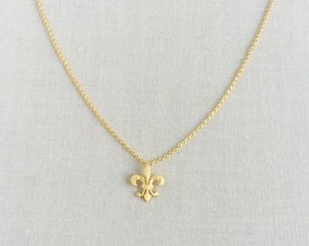 Fleur De Lis Necklace - Fleur De Lis Jewelry - Fleur De Lis - Gold Fleur De Lis Necklace - New Orleans Jewelry - New Orleans, GPN12