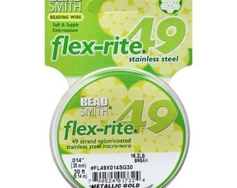 Flex-Rite By The BeadSmith Metallic Gold Size Heavy .024 49 Strand 30ft Spool Beading Wire
