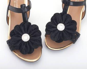 Women Black Shoe Clips,Fabric Flower Shoe Clips,Dress Shoe Clips, Prom Shoe Clip,Women's Shoes - sh25