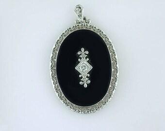 Vintage Antique Onyx & Diamond 14K White Gold Pendant Necklace