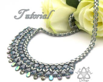 Pdf Tutorial Luxor Bib Necklace with Kheops Par Puca®, SuperDuo Beads and Pip Beads, Beading Pattern English Only,