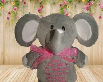 Elephant Cubbie personalised toy, plush toy, baby toy, christmas, birthday, baby shower, soft toy, wedding, kids, baby, boyfriend, mum, dad