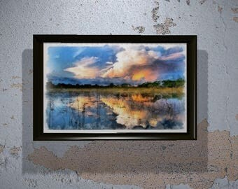 Florida Everglades Watercolor Print - Florida Watercolor - Wetlands Print