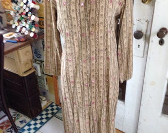 50's mud cloth light brown/dark brown caftan, mirrors, embroidery