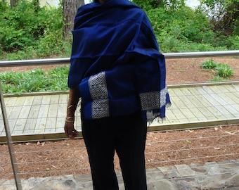 Women Royal Blue Shawl/Large Blue Shawl/scarf ethiopia/Handmade scarf/Saba scarf