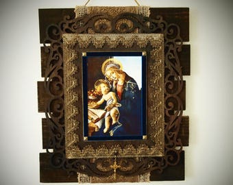 """Rustic Wall Art Botticelli's """"Madonna of the Book"""" Catholic Decor and Gifts"""