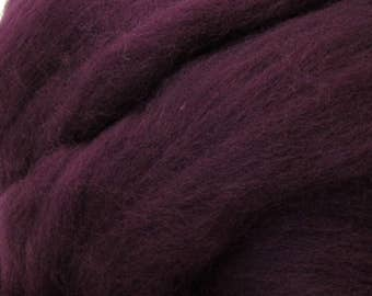 Dyed Shetland Natural Spinning Fiber Wool Top Roving / 1oz - Aubergine