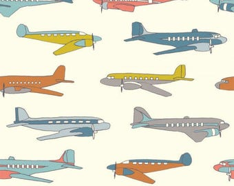 Organic Airplane Cotton Fabric, Quilting Weight, Birch, By the Yard Yardage, Trans-Pacific, Plains Multi, Boy, Kids Room Decors, Jet, Pilot
