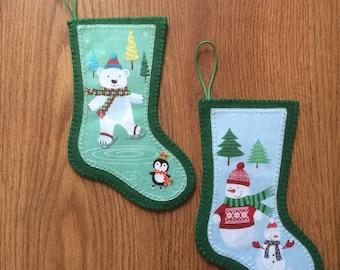 Christmas Decorations, Mini Stocking Decorations, Felt Decorations, Christmas Stockings, Mini Christmas Stockings, Felt Stockings