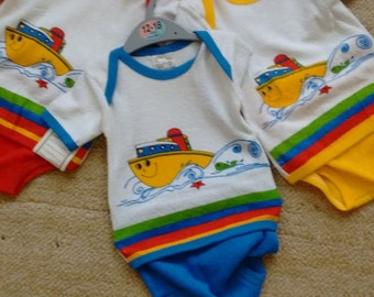 Vintage Terry Towelling Blue Boat Baby Set