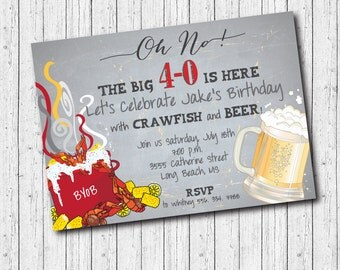 Crawfish Boil Birthday Invitation printable/Digital File/40th Birthday, surprise, seafood boil, crawfish and beer/Wording can be changed