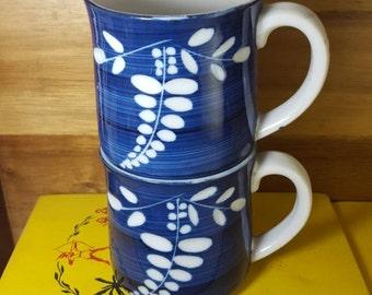 Set of 2 Vintage Blue and White Leaf Print Mugs