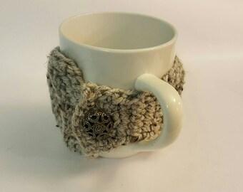 Mug Cozy • Crochet Ribbed Cozy • Coffee Cup • Coffee Cozy • Tea Cup Cozy • Holder • Sleeve! Gray w/ Metal Scroll Button! Ready w Ship!