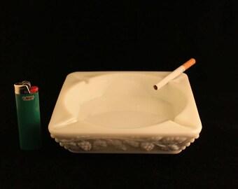 Ashtray Vintage White Milk Glass Square Grapes Pattern Cigarette Smoker Tobacco Gift