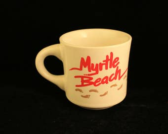 Vintage Myrtle Beach Mug Footprints in Sand Coffee Tea Cup Vacation Beach Travel Souvenir White Red Letters