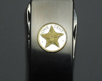 "Bahamas  ""Starfish"" - Gorgeous 2-Toned (Hand done) Gold on Silver Coin - Combination Knife and scissor Money clip"