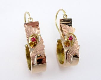 Antique Victorian Gold Floral Earrings