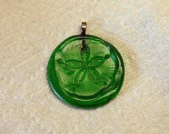 Green Sand Dollar Up-cycled Glass Bottle Bottom Handmade Ornament Sun Catcher