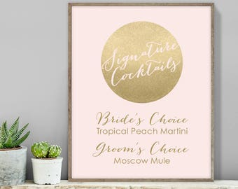 Blush and Gold Signature Cocktail Sign / His and Hers Drink / Metallic Gold and Blush / Gold Sign ▷ Printable File {or} Printed & Shipped