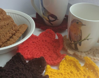 Handmade autumn leaf coasters, set of five.