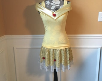 BELL Inspired Running Complete Outfit / skirt / Costume Halloween Yellow with red Roses
