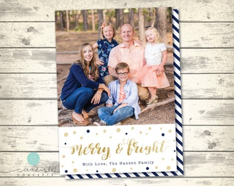 Gold and Navy Confetti Christmas Card with Photo   Merry and Bright Holiday Card   Family Christmas Card with Picture   Digital Printable