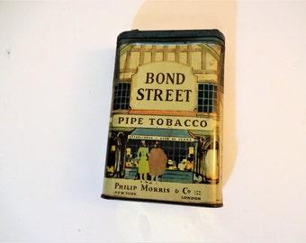 Vintage Bond Street Pipe Tobacco Tin - Colorful Graphics - Pocket Tin -1940 - Philip Morris - Tobacco Tin - Vintage Advertising - Tobacciana