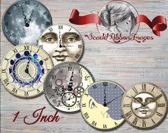 Moon Clock Faces for bottle cap images of 1 inch round circles