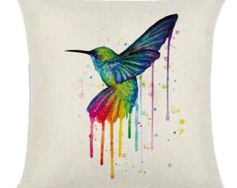 Hummingbird Rainbow Bird Pillow Cushion Cover Linen Cotton Shabby Chic