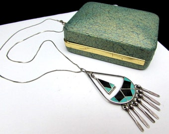 80s sterling zuni inlay turquoise onyx vintage pendant necklace layered | inlaid silver fringe signed artist native american indian jewelry