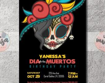 Dia de los MUERTOS BIRTHDAY PARTY Invitation {Day of the Dead} {Folk Art} {Sugar Skull} {Birthday} {Halloween} {Printable}