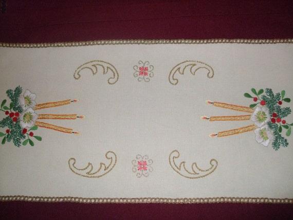 Vintage German Christmas Hand - Embroidered Table runner Tablecloth-Unused